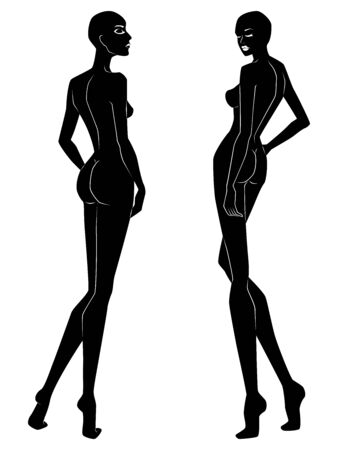 Two silhouette of abstract graceful and sensual women with closed eyes, isolated on the white background, back view, hand drawing outline Ilustrace