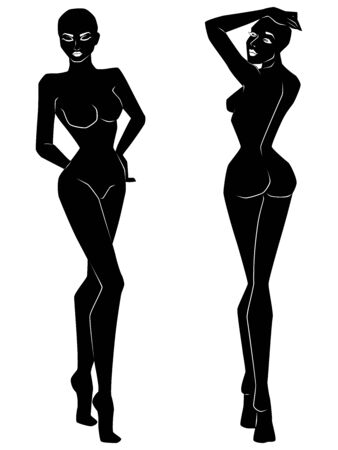 Two silhouette of abstract graceful women with slimness waist isolated on the white background, hand drawing outline
