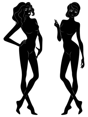 Two silhouette of abstract slender and sensual women, hand drawing outline Ilustrace