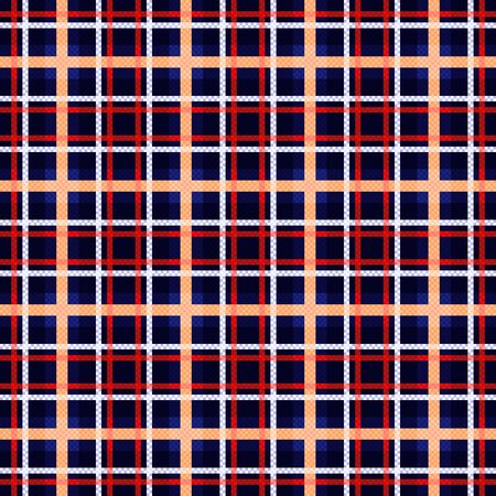 Seamless checkered shades of dark blue hues with red, white and beige lines illustration pattern as a tartan plaid