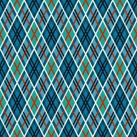 Detailed Rhomb seamless illustration pattern as a tartan plaid mainly in blue and turquoise hues with orange and white lines 일러스트