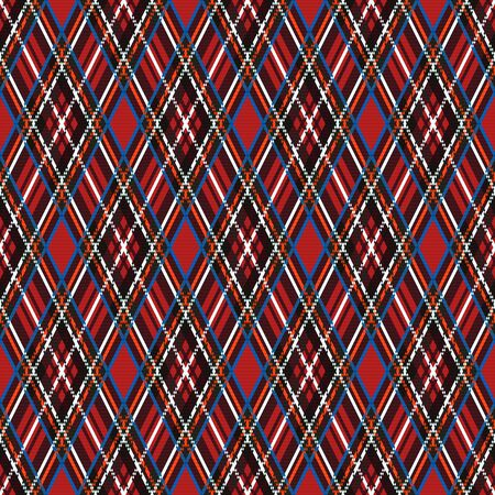 Rhombic seamless illustration pattern as a tartan plaid mainly in various motley colors 일러스트