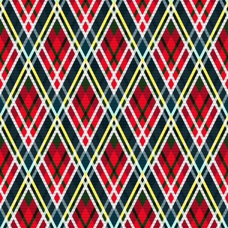Detailed Rhomb seamless vector pattern as a tartan plaid mainly in red and muted blue hues with green, white and yellow lines 일러스트