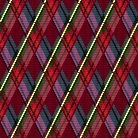 Rhombic seamless illustration pattern as a tartan plaid mainly in motley colors