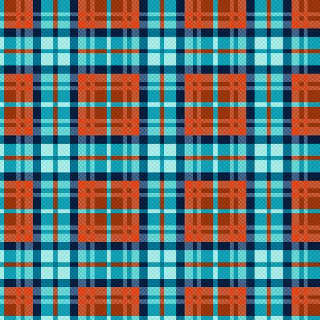 Seamless checkered shades of turquoise, blue and orange with seeming transparency effect, illustration pattern as a tartan plaid Illustration