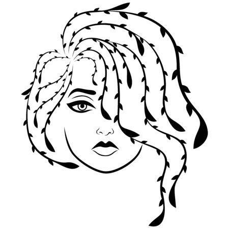 Charming and attractive woman with wavy floral hair covering one eye, isolated on the white background, black vector hand drawing on the white background Иллюстрация