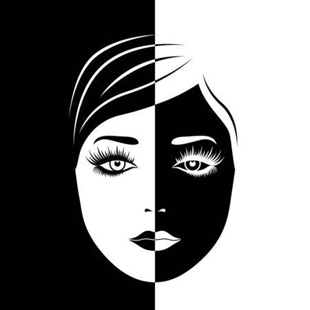 Das Gesicht der abstrakten schönen Frau spaltete sich in negativen und positiven Raum, schwarz-weißer konzeptioneller Ausdruck, Handzeichnungsillustration