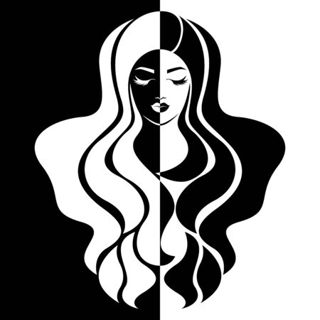 Abstract attractive womans face with closed eyes split in negative and positive space, black and white conceptual expression, hand drawing illustration  イラスト・ベクター素材