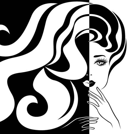 Abstract attractive woman with long hair split in Negative Positive space, black and white conceptual expression, hand drawing illustration