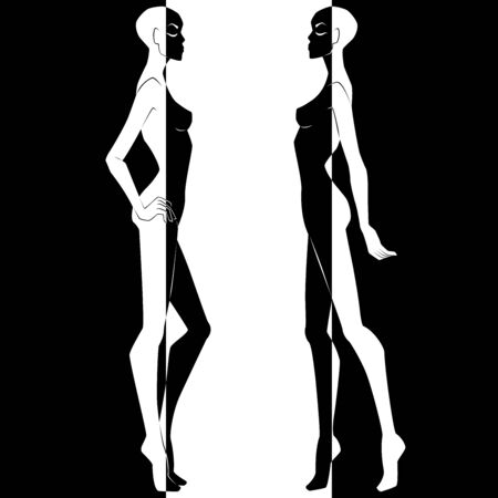 Abstract of two elegant female bodies split in negative and positive space, black and white conceptual expression, hand drawing illustration