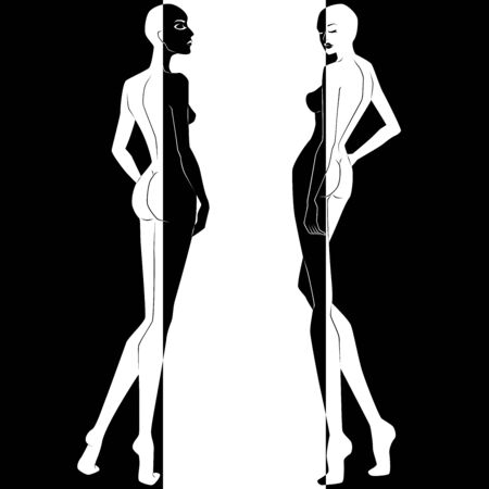 Abstract of two elegant woman split in negative and positive space, black and white conceptual expression, hand drawing illustration