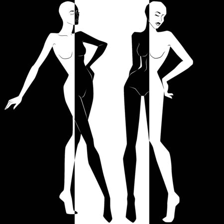 Abstract of two attractive women split in Negative Positive space, black and white conceptual expression, hand drawing illustration  イラスト・ベクター素材