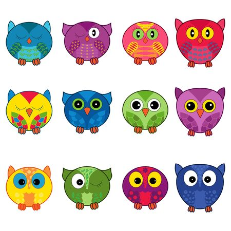 Set of twelve funny cartoon owls placed in oval forms with various pattern isolated on the white background, illustration as icons