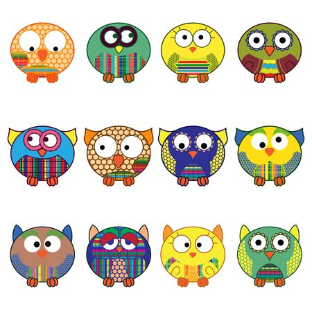 Set of twelve cute cartoon oval owls in various pattern isolated on the white background, cartoon vector outlines as icons Ilustração