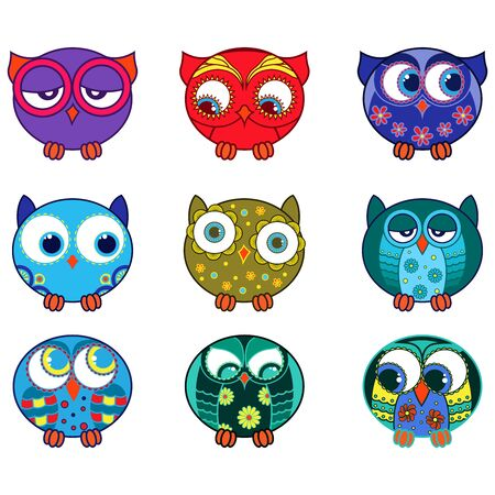 Set of nine cartoon cute and funny various oval owls isolated on the white background, vector outlines as icons