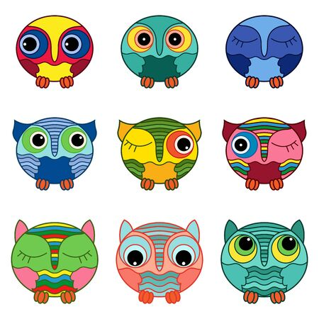 Set of nine funny cartoon owls placed in oval forms with various colors isolated on the white background, illustration as icons