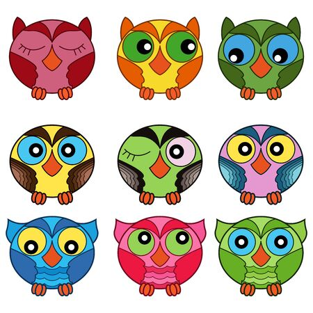 Set of nine cute cartoon oval owls in various colors isolated on the white background, cartoon vector outlines as icons
