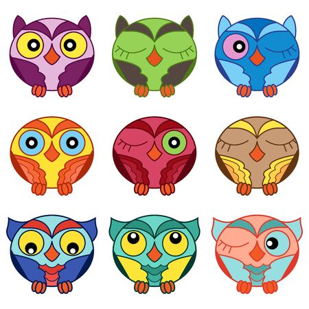 Set of nine cartoon funny and cute various oval owls isolated on the white background, vector outlines as icons