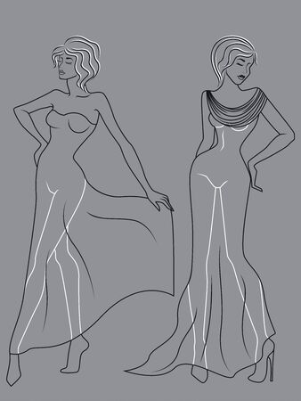 Abstract outline of two elegant and charming ladies in fashionable clothes isolated on the muted blue gray background