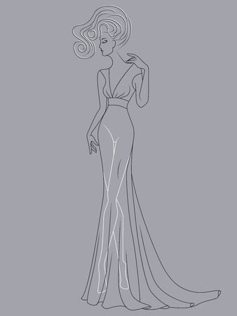 Abstract outline of graceful lady in a sophisticated evening gown design isolated on the muted blue gray background Иллюстрация