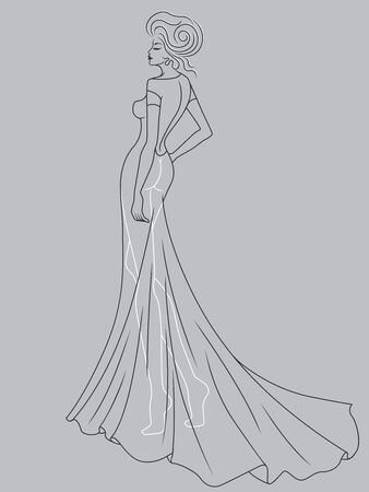 Abstract outline of charming and graceful lady in a sophisticated evening gown design isolated on the muted blue gray background Иллюстрация