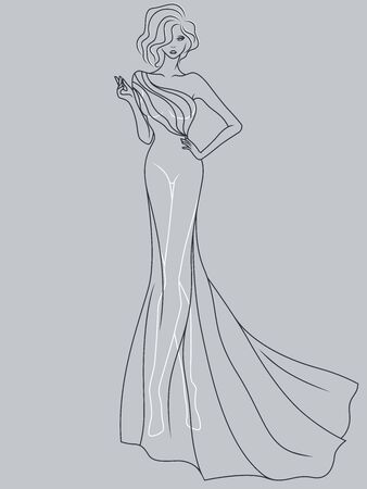 Abstract outline of charming and elegant lady in a sophisticated evening gown design isolated on the muted blue gray background Векторная Иллюстрация