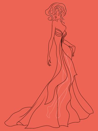 Abstract outline of charming and sensual lady in a sophisticated evening gown design isolated on the muted pink background Иллюстрация