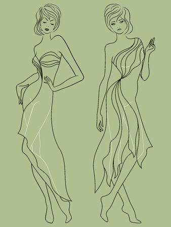 Abstract outline of two elegant and stylish ladies in fashionable clothes isolated on the muted green background