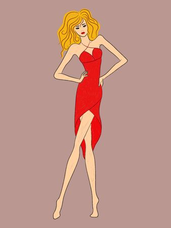 Abstract graceful lady in transparent fashionable red dress isolated on pale pink background Иллюстрация