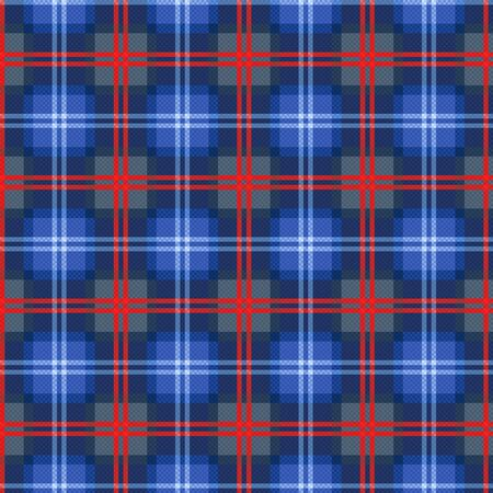 Seamless checkered traditional fabric pattern mostly in blue hues with bright red lines, illustration pattern as a tartan plaid