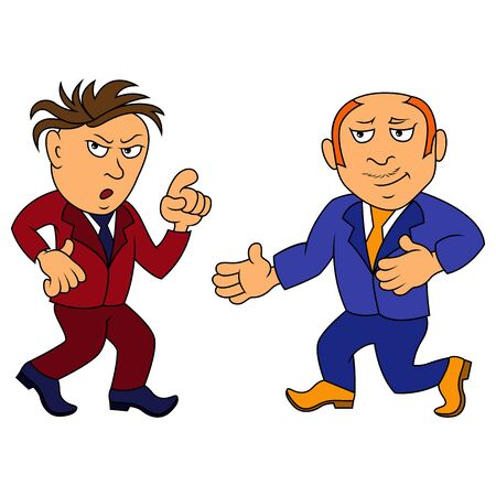 Colored illustration of two funny gentlemen in suits isolated on white background Vektorové ilustrace