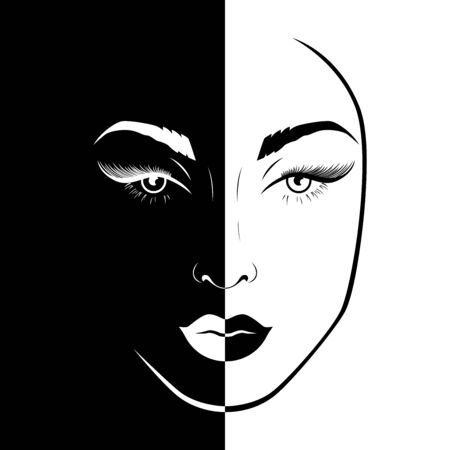Abstract beautiful female face split in Negative Positive space, black and white conceptual expression, hand drawing illustration
