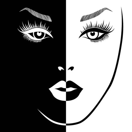 Abstract attractive woman split in Negative Positive space, black and white conceptual expression, hand drawing illustration