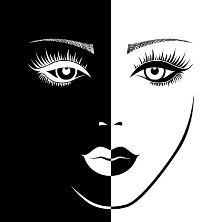 Abstract of charming woman's sensual face in negative and positive space, black and white conceptual expression, hand drawing illustration