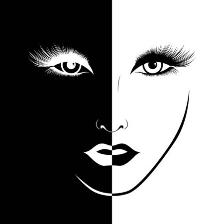 Abstract beautiful female face split in negative and positive space, black and white conceptual expression, hand drawing illustration Illustration