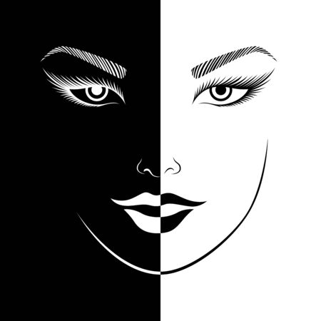 Abstract woman's smiling face split in negative and positive space, black and white conceptual expression, hand drawing illustration Illustration