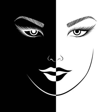 Das lächelnde Gesicht der abstrakten Frau spaltete sich in negativen und positiven Raum, schwarz-weißer konzeptioneller Ausdruck, Handzeichnungsillustration