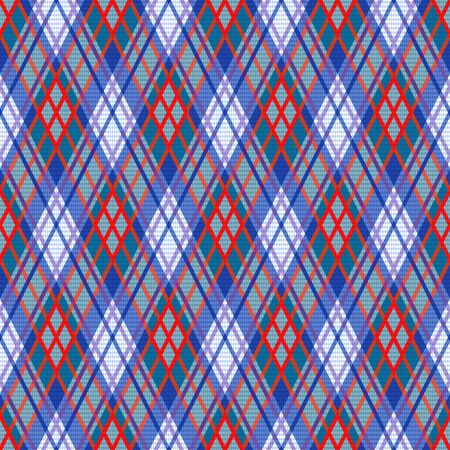 Seamless rhombic illustration pattern as a tartan plaid mainly in blue, purple and red hues