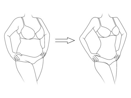 Black outline of woman on the way to lose weight in underwear, isolated on white background