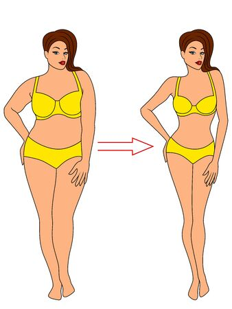 Charming woman on the way to lose weight in yellow swimwear, illustration isolated on white background Illustration