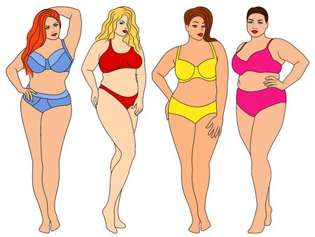 Four charming fat women in colorful underwear, isolated on white background, lingerie advertisement for thick ones