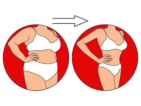 Body of lady on the way to lose weight in underwear in red circle, isolated over white illustration Illustration