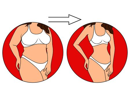 Stages on the way to slimming, female body in underwear in red circle, isolated over white illustration