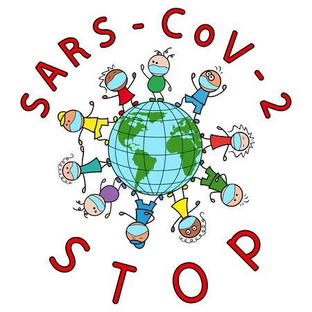 Children of different nationalities together around the globe wearing medical masks calling for a halt to the coronavirus, cartoon illustration isolated on the white background Vector Illustration