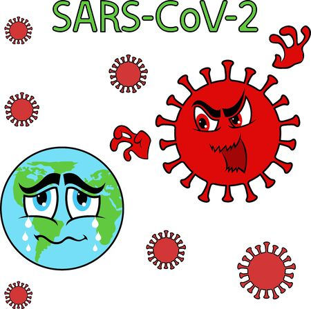 Abstract cartoon structure of coronavirus attack on globe,