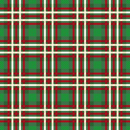 Seamless checkered traditional fabric pattern in green hues with bright red and beige lines, illustration pattern as a tartan plaid