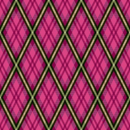 Detailed Rhomb seamless vector pattern as a tartan plaid mainly in pink and magenta hues with khaki lines