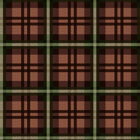 Knitting seamless vector pattern as a tartan plaid mainly in brown and khaki hues 일러스트