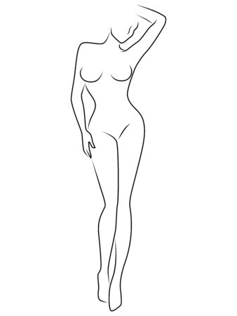 Abstract of body charming and sensual woman, illustration isolated on the white Ilustracja