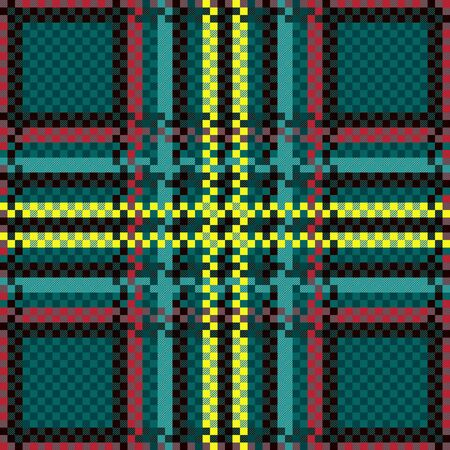 Turquoise, red, dark claret and yellow contrast tartan Scottish seamless pattern, texture for tartan, plaid, tablecloths, clothes, bedding, blankets and other textile Çizim